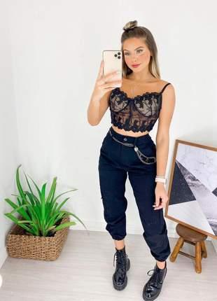 Cropped top feminino moda atual renda rendado com bojo