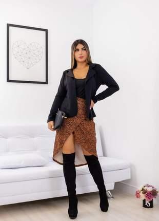 Casaco blazer neoprene moda feminina corte a laser lindo