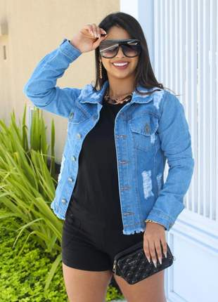 Jaqueta jeans moda feminina detalhes lindo
