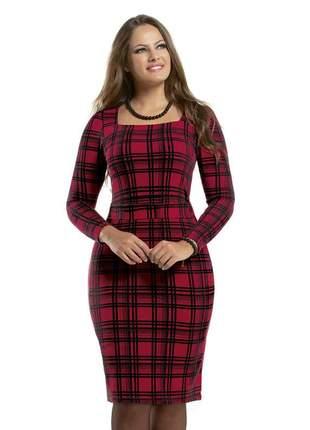 Vestido xadrez vermelho tubinho