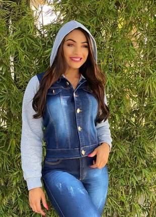 Jaqueta casaco feminina jeans manga moletom c toca ref253