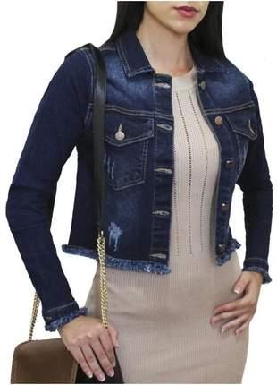 Jaqueta jeans feminina curta cropped lycra rasgada escura