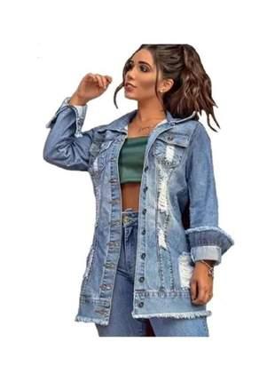 Jaqueta destroyed jeans - blogueiras - super lançamento