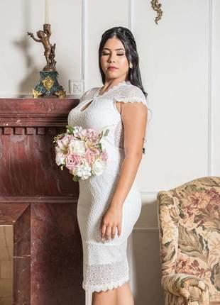 Luiza| vestido de noiva renda premium casamento civil princesa