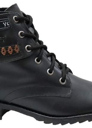 Coturno bota preto liso desfile confortável rasteira couro 936515235