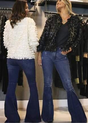 Calça jeans flare feminina com elastano