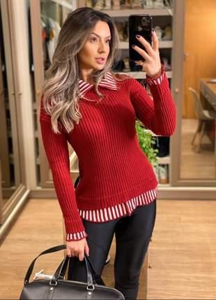 Blusa de tricot sobreposta