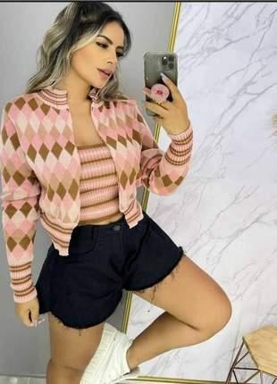 Loicura conjunto cardigan com cropped combinando tricot