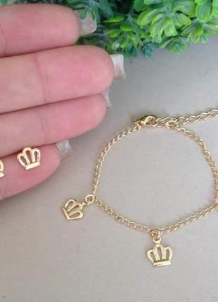 Conjunto infantil pulseira+brinco de coroa folheado a ouro