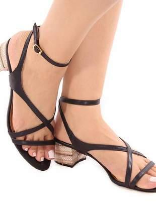 Sandália napa preta com salto bloco