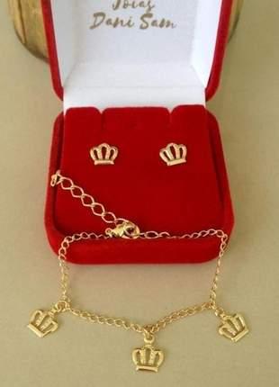 Conjunto pulseira e brinco infantil coroa banhado a ouro