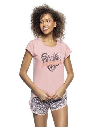 Pijama blusa e short pink animal print em algodão