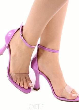 Sandália preta nude rosa salto taça com vinil