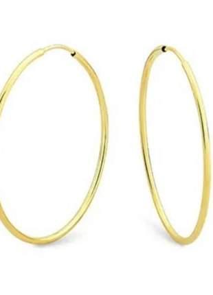 Brinco argola fina 6,2 cm banhada a ouro amarelo