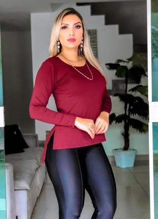 Blusa camiseta feminina moda capa vest manga longa