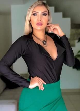 Body feminino estilo blazer manga longa moda casual