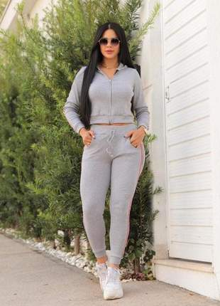 Conjunto feminino ribana listras lateral moda casual