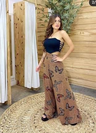 Calça feminina pantalona linda estampa borboleta moda