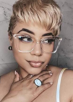 Armação para óculos de grau quadrada transparente