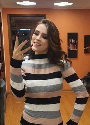 Loucura blusa de frio em tricot ideal para o friozinho de outono