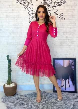 Vestido feminino tule moda evangélica