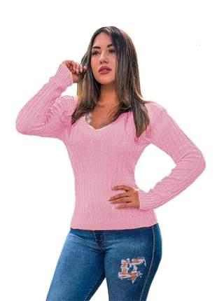 Blusa cardigan tricot trançadinho feminina ref:983(rosa)
