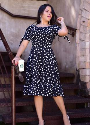 Vestido feminino midi poá