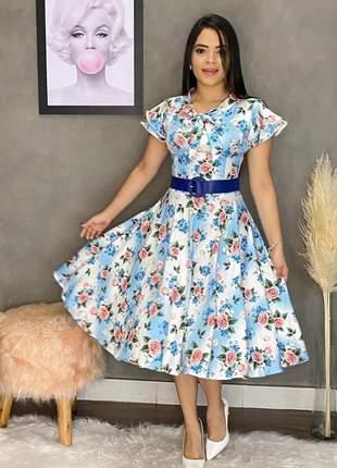 Vestido feminino estampado c/ cinto