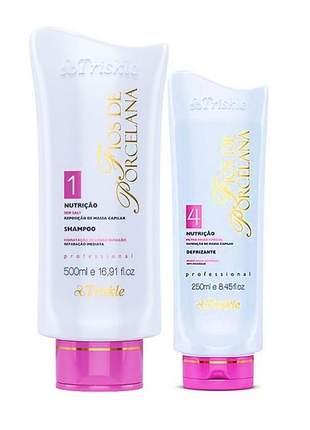 Kit shampoo + leave in defrizante triskle nutrição fios de porcelana