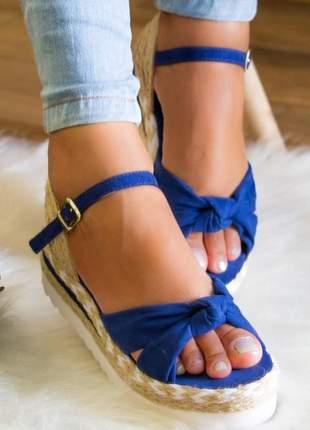 Sandália flatform kate azul marinho