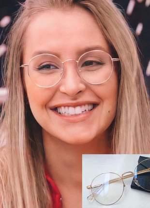 Óculos armação para grau carla diaz bbb 21 aro redondo cor dourado round feminino