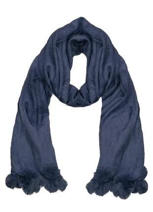 Cachecol lenço pashimina xale echarpe várias cores ref 273 (azul-marinho)