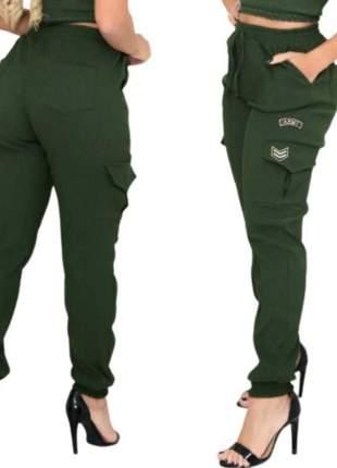 Calça jogger army bomber moda blogueira