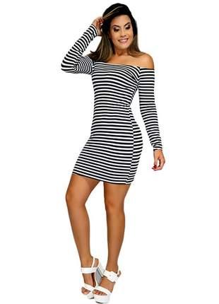 Vestido feminino ombro a ombro manga longa curto ref:002 (branco/preto)