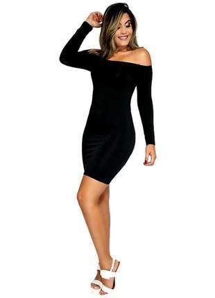 Vestido feminino ombro a ombro manga longa curto ref:002 (preto)