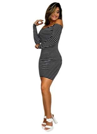 Vestido feminino ombro a ombro manga longa curto ref:002 (preto/branco)