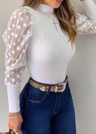 Blusa suéter tule poá tricot