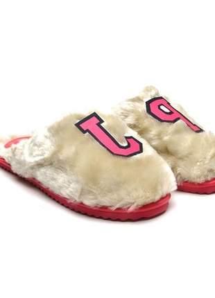 Pantufa Petite Jolie Pelo Bege/Pink PJ2247