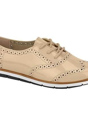 Sapato Oxford Moleca Verniz Bege 5613.518