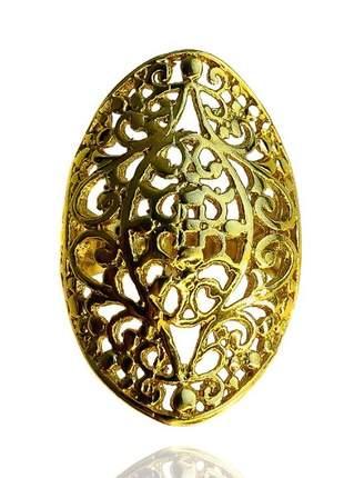 Anel oval dourado 16