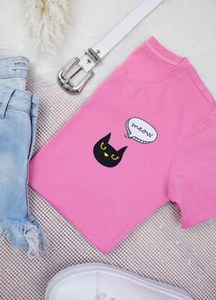 Blusa camiseta t-shirt estampada gatinho meow malha
