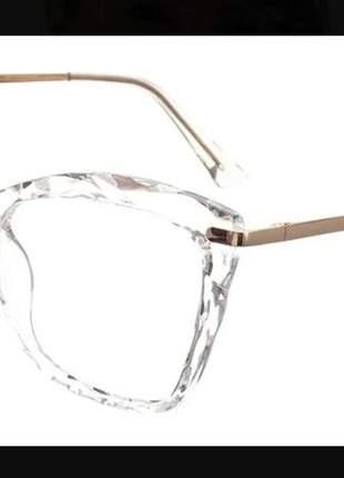 Armação óculos sem grau feminino cristal lapidado grande a15