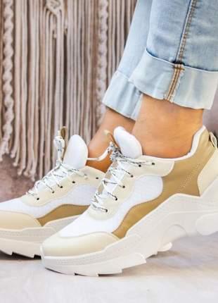 Tênis sneaker feminino casual palha julie