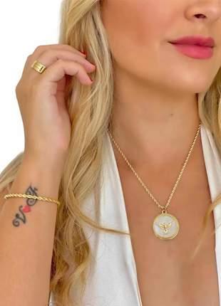 Cordão 5mm baiano feminino pingente e pulseira banhado ouro