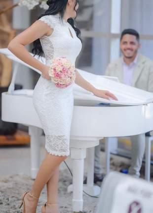 Vestido branco off casamento civil cartório poliamida premium