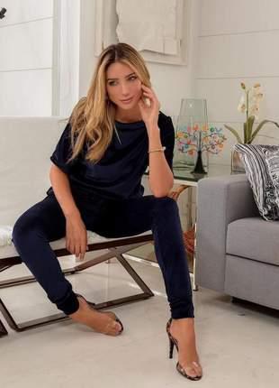Conjunto de calça e blusa de plush aveludado azul marinho