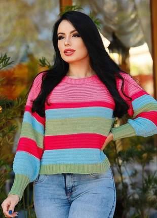 Blusa de tricot mesclado