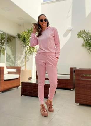 Conjunto de calça e blusa manga longa de plush
