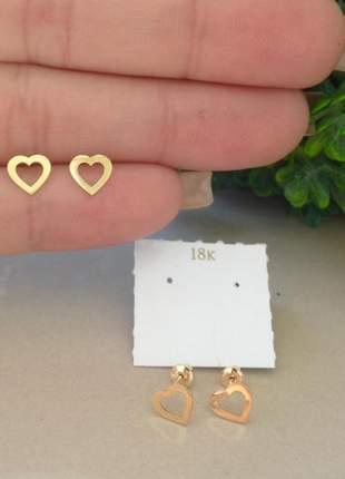 Brinco de coração em ouro 18k