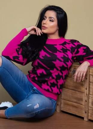 Blusa de tricot mesclado pied poule pink